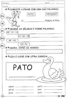 Atividade de alfabetização letra P