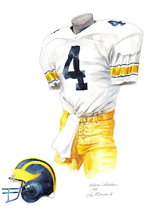 1985 University of Michigan Wolverines football uniform original art for sale