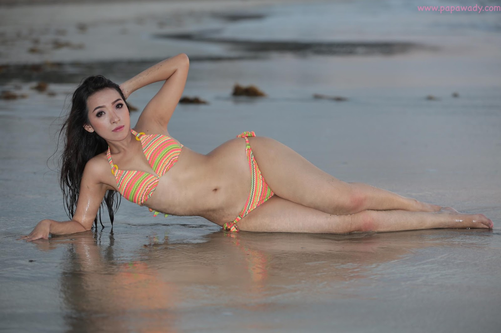 Nan Mwe San and Bikini Fashion Photoshoot At Ngwe Saung Beach