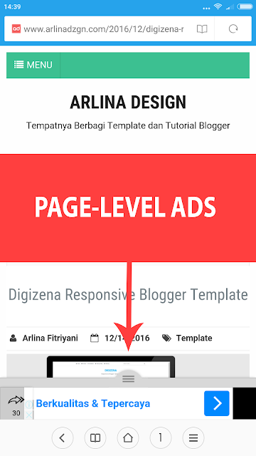 Cara Menambahkan Page-Level Ads Adsense di Blog