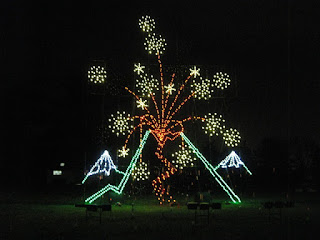 Light display, volcano erupting. Vasona Lake County Park, Los Gatos, California
