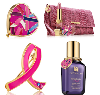 Estee lauder evelyn lauder breast cancer awareness, Evelyn Lauder dream compact, Evelyn lauder dream pin, Evelyn lauder and elizabeth hurley dream lips collection, Estee Lauder perfection CP+R