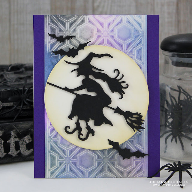 Halloween Witch Card by Juliana Michaels featuring Spellbinders Witch On A Broom Die