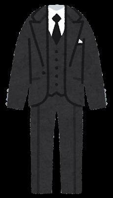 タキシードのイラスト(黒・ネクタイ)
