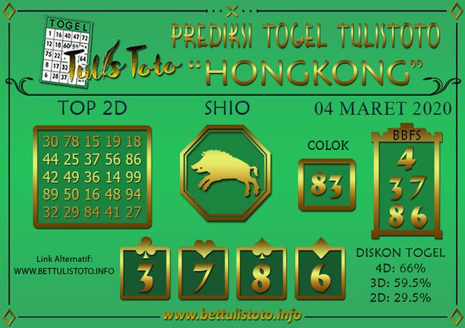 Prediksi Togel HONGKONG TULISTOTO 04 MARET 2020