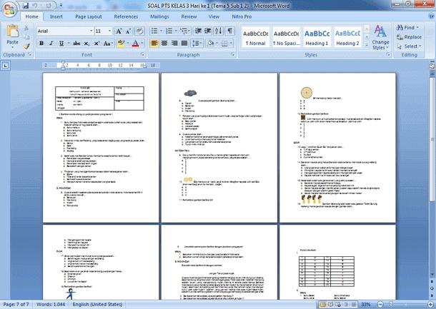 Contoh Soal PTS Kelas 3 SD Semester 2 Kurikulum 2013 Revisi 2018-2019