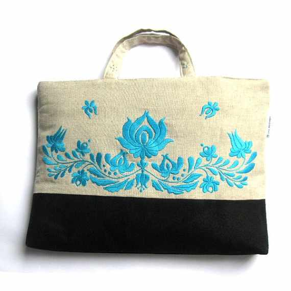 Turquoise embroidered tote bag