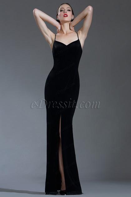 edressit sexy velvet spaghetti black tie evening dress