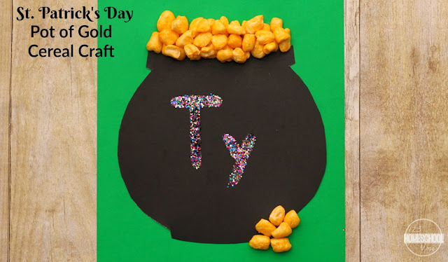 St. Patrick's Day Pot of Gold Cereal Craft for toddler, preschool, kindergarten great for name recognition in March