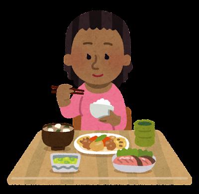 和食を食べる黒人の女性のイラスト