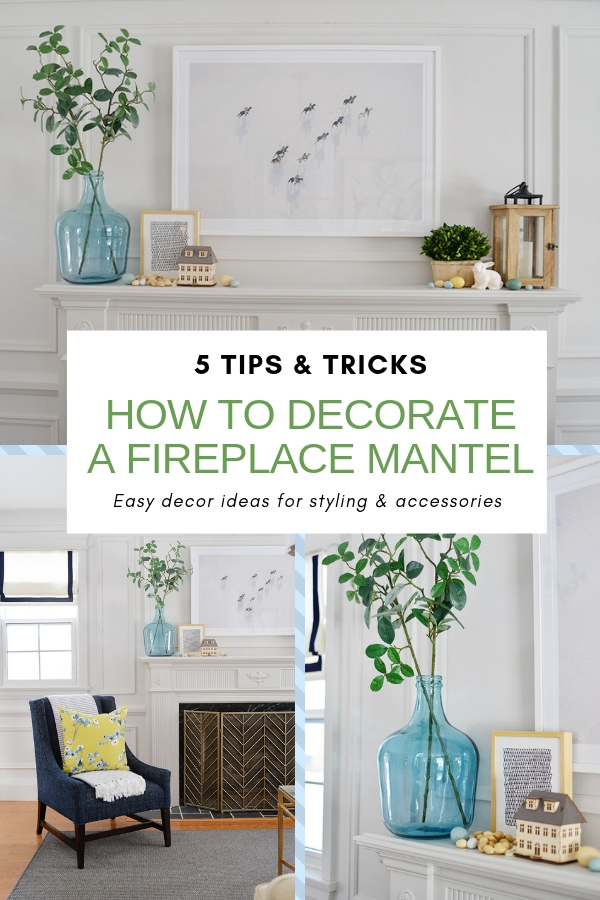 fireplace mantel decor ideas, how to decorate your fireplace mantel, fireplace greenery, living room fireplace, glass jug with branches