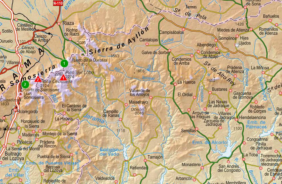 Sendas de Burgos Mapa de Sierra de AyllnNorte de Madrid