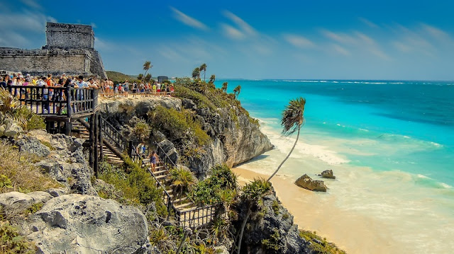 People enjoy their time at Tulum Beach