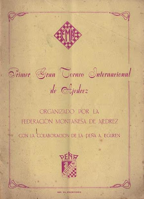 Portada del folleto del I Gran Torneo Internacional de Ajedrez Santander 1958