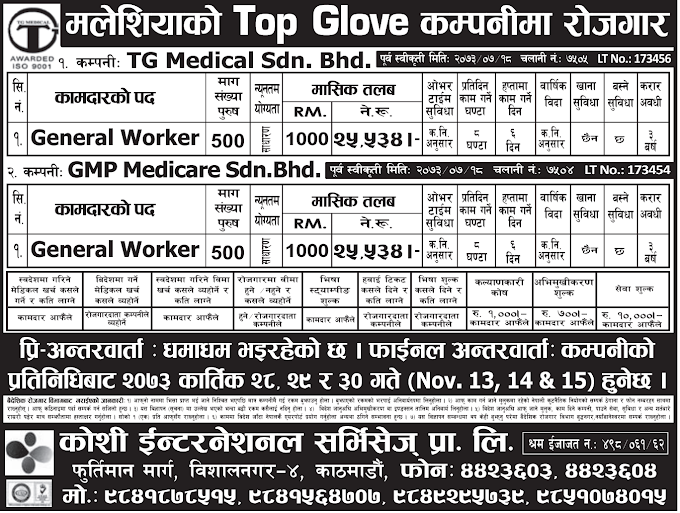 Free Visa, Free Ticket Jobs For Nepali In Malaysia Salary- Rs. 25,534/
