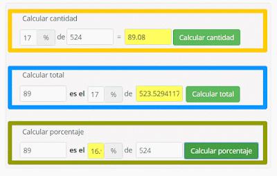 Ejemplos de tres calculadoras on-line basadas en reglas de tres que nos pueden ayudar con nuestras formulaciones