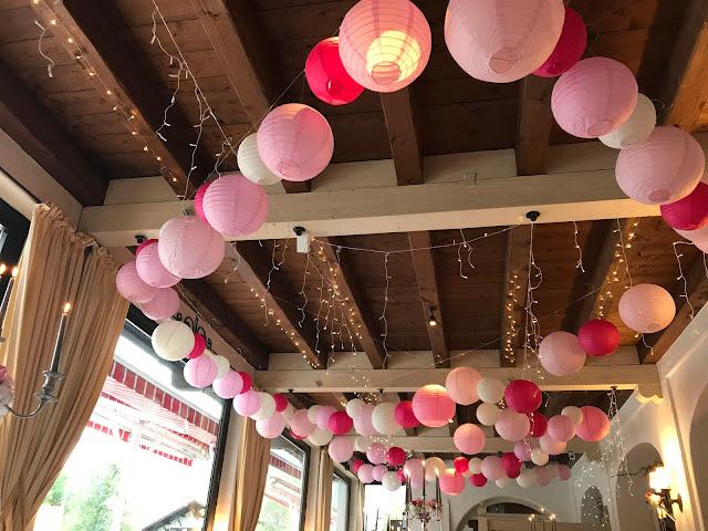 Lampions und Fairy Lights, Hochzeit, , Riessersee Hotel, Garmisch-Partenkirchen, Bayern, Vintage, Rosen, Schleierkraut, Rosa, Pink, See und Berge