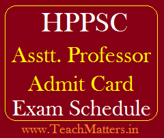 image : HPPSC Assistant Professor (College Cadre) Admit Card & Exam Dates 2018 @ TeachMatters