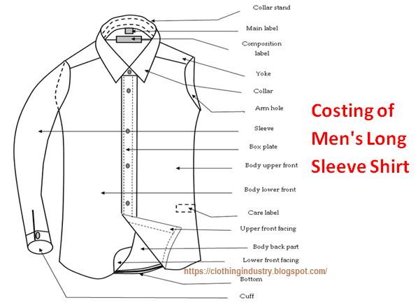 costing of men u0026 39 s long sleeve shirt