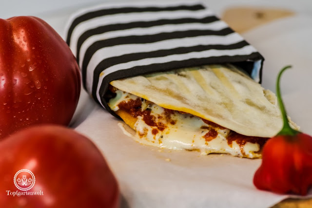 Piadine mit Hähnchen und Pesto Rosso aus Italian Streetfood von Pablo Macias - Foodblog Topfgartenwelt