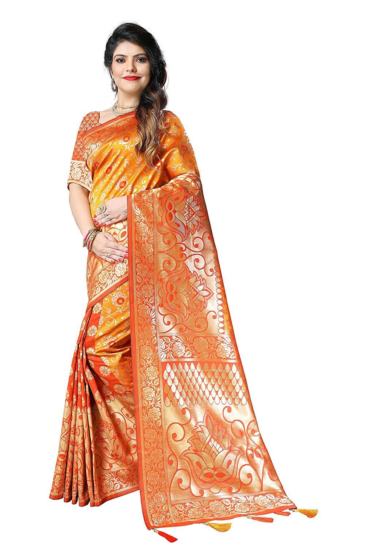 Silky Sarees Women's Banarasi Silk Saree with Heavy Blouse Piece