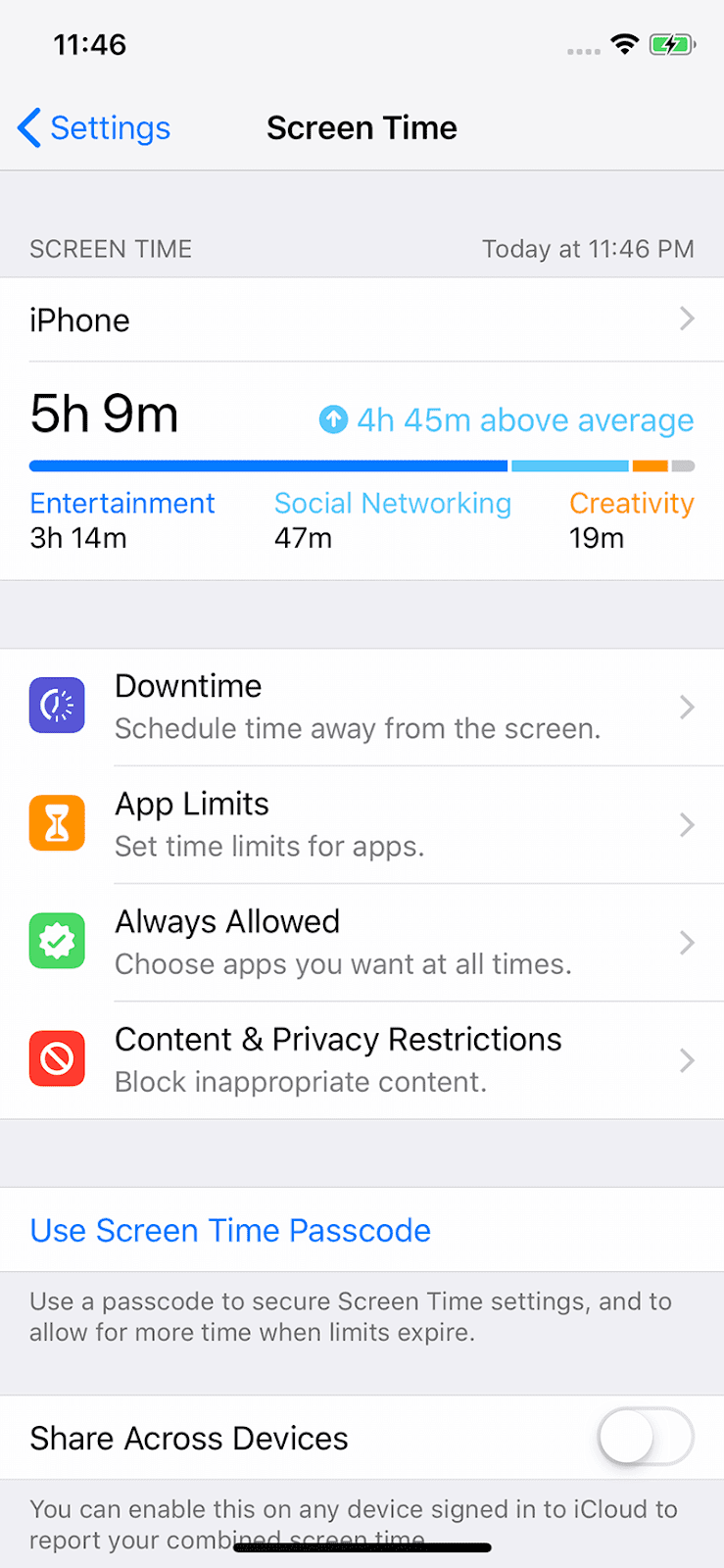 The new screen time breaks down your daily and weekly usage