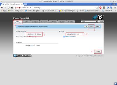Jika sudah klik logo ubnt / paling kiri, kemudian centang airMAX, lalu isikan airView port = 11111 lalu > change dan applu