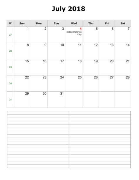 Free July 2018 Blank Calendar Printable Templates