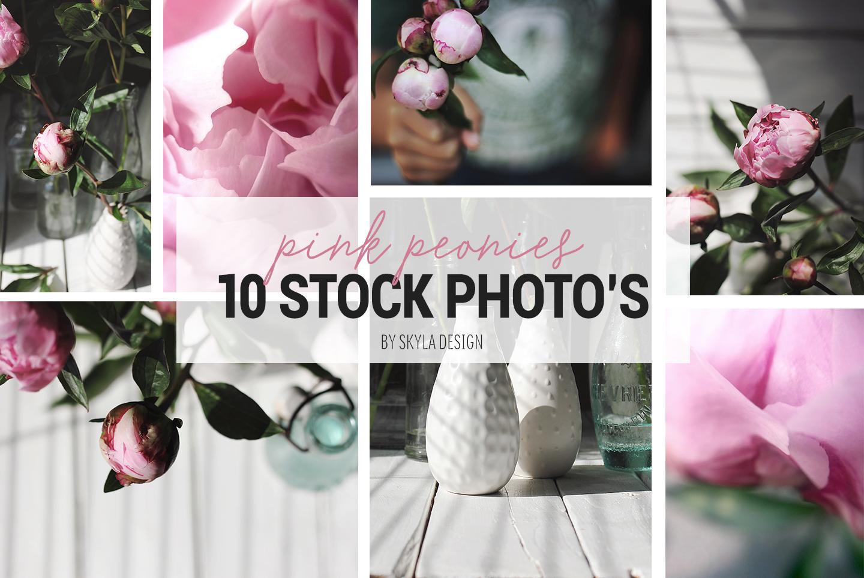 pink peonies stock photo mockup