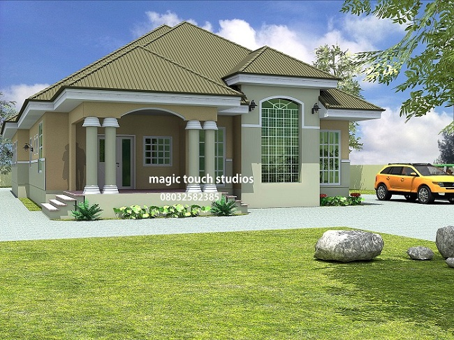5 bedroom bungalow residential homes and public designs for Four room house design