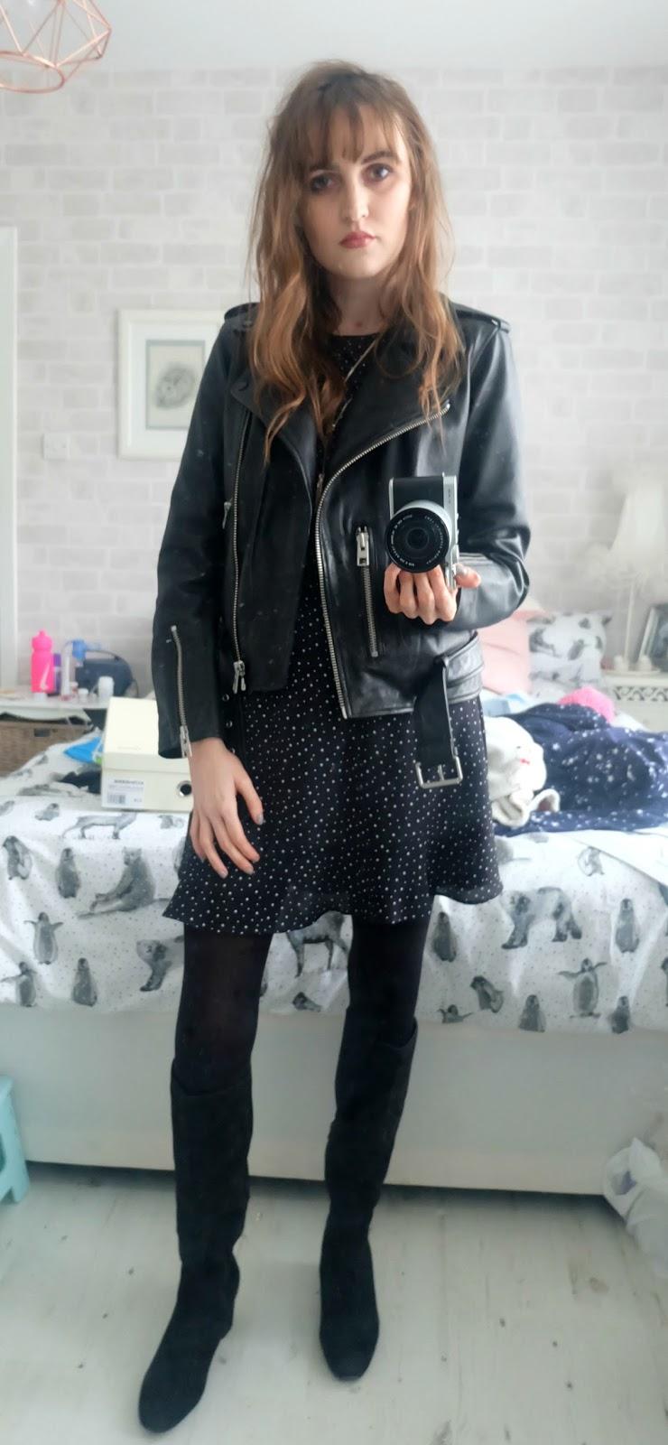 topshop navy star dress, balfern leather jacket, zara suedette over the knee boots,