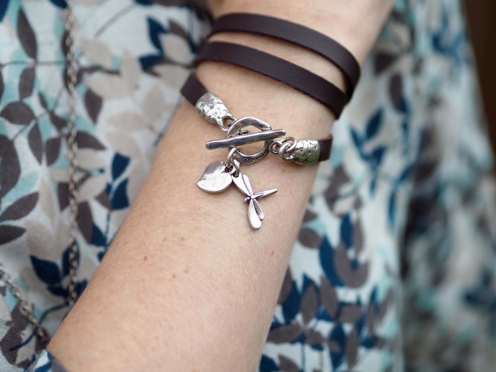 Danon dragonfly leather wrap bracelet from www.lizzyo.co.uk