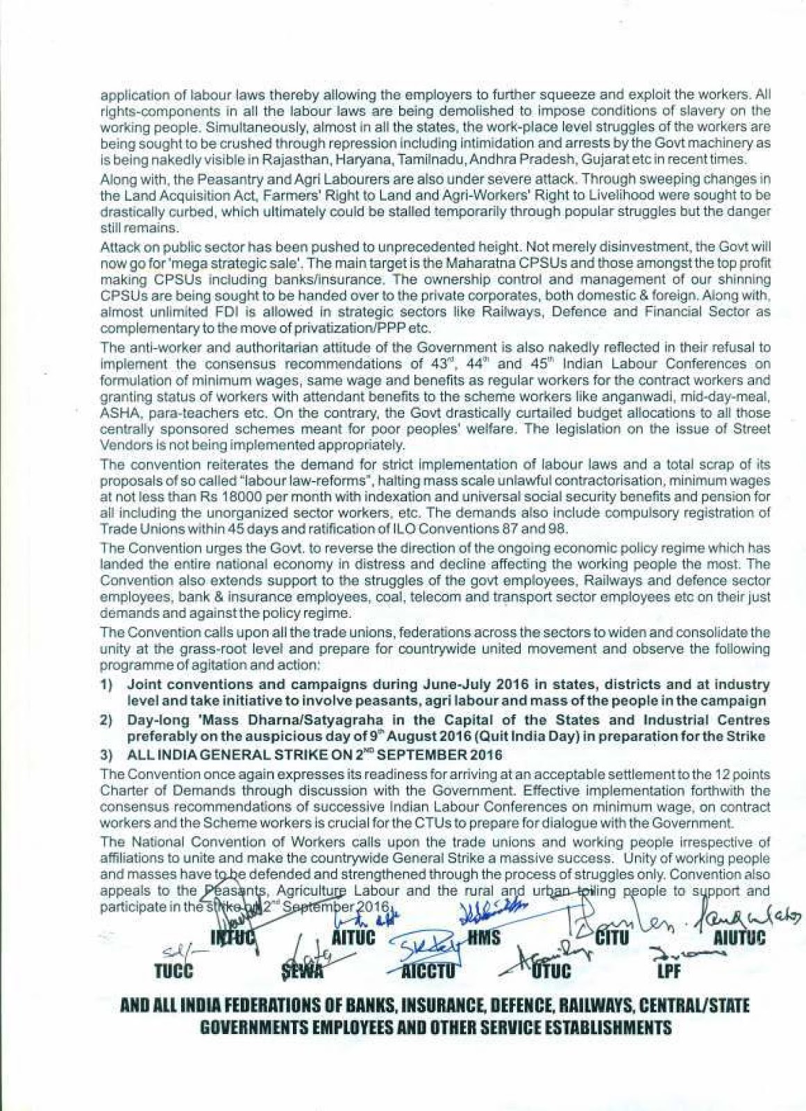 AIBOC Joins with Unions Call for All India Bank Strike on 2nd September 2016