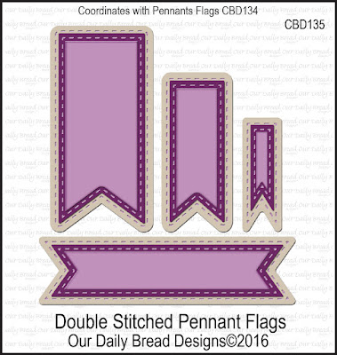 ODBD Custom Dies: Double Stitched Pennant Flags