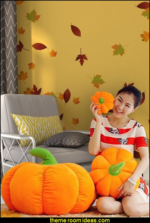 Pumpkin Plush Cushion Pillow  Nature Vinyl Wall Art Autumn Leaves Falling Wall Decal Stickers