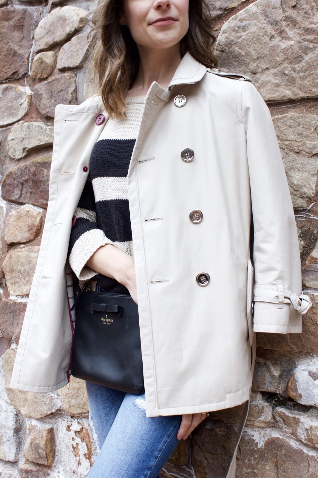tan Coach trench coat