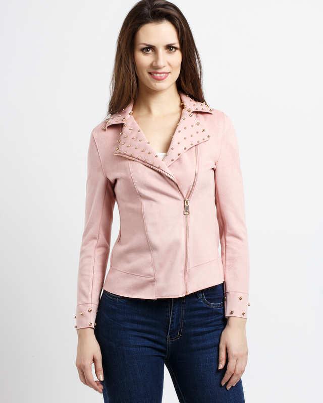 giacca modello chiodo colore rosa