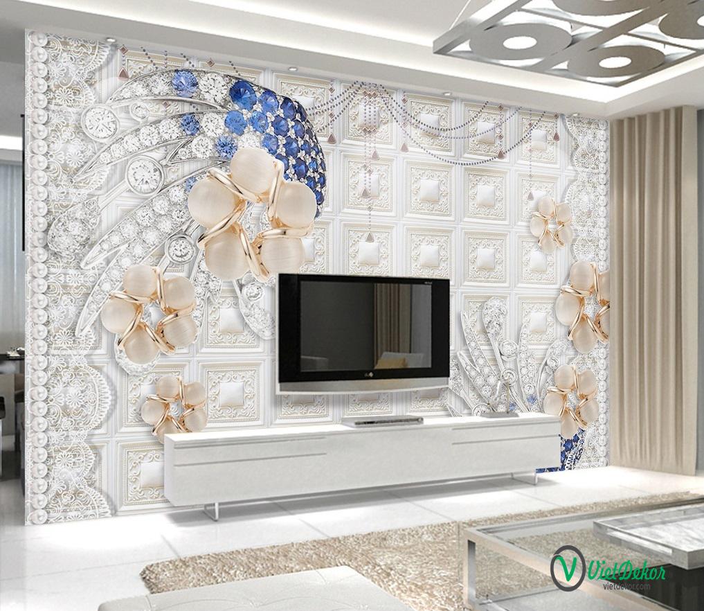 Tranh dán tường 3d ngọc trai trang trí phòng khách phòng ngủ