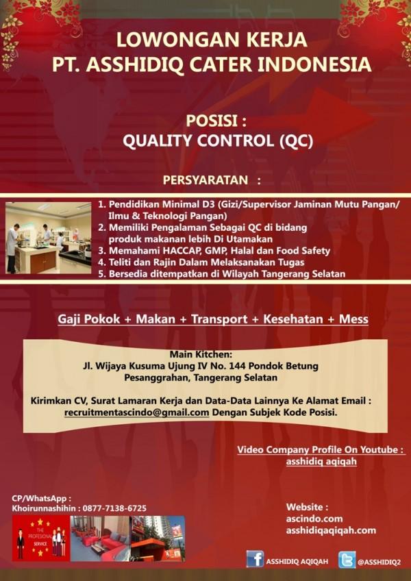 Lowongan Kerja PT. Asshidiq Cater Indonesia Juni 2016