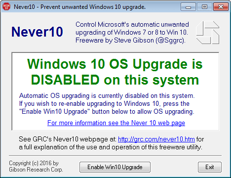 Never10 notifica aggiornamento Windows 10 è disabilitato