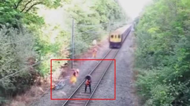 VIDEO: Salva a ebrio de ser arrollado por tren