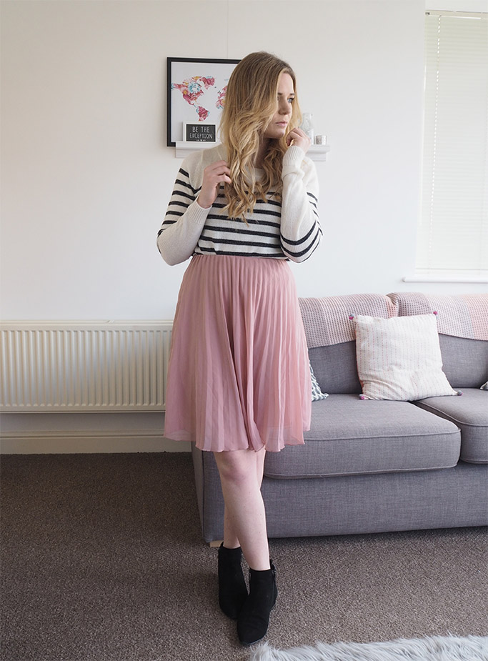 stripey jumper midi skirt