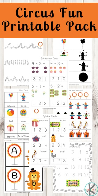 FREE Circus Worksheets - these free printable circus themed activities make practicing writing, matching upper case and lower case letters, which ones different, tracing letters, alphabet, counting, syllables, vocabulary and more for toddler, preschool, kindergarten, and first grade kids #circusetheme #worksheets #alphabet #kindergartenworksheetsandgames #freeworksheets
