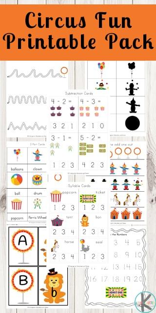 FREE Circus Worksheets \u2013 Kindergarten Worksheets and Games