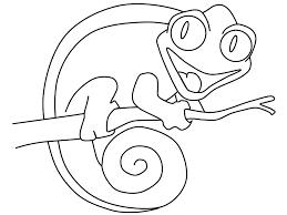 Adorable Smilling Chameleon Coloring Sheet