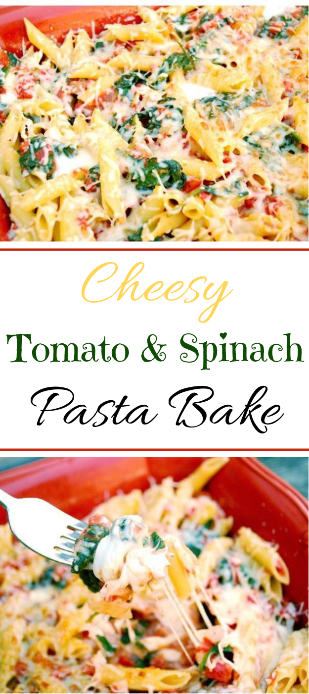 Cheesy Tomato And Spinach Pasta Bake #vegandinner #Vegetarian