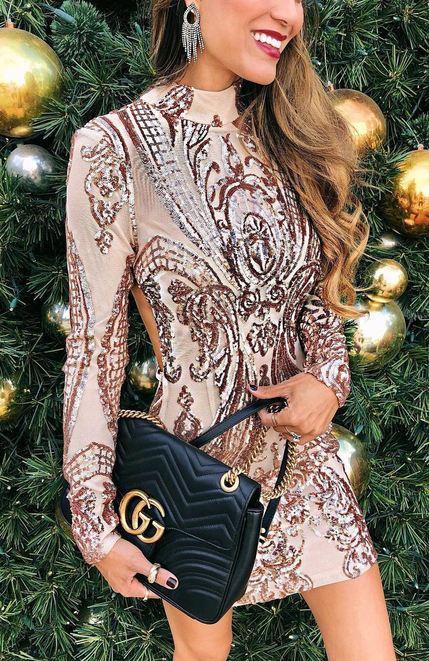 gorgeous outfit idea / sparkly dress and black bag