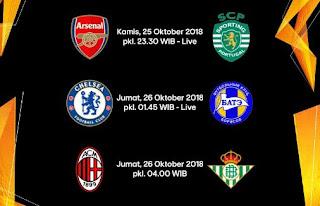 Jadwal Liga Europa: Arsenal, Chelsea, Milan - Siaran Langsung RCTI