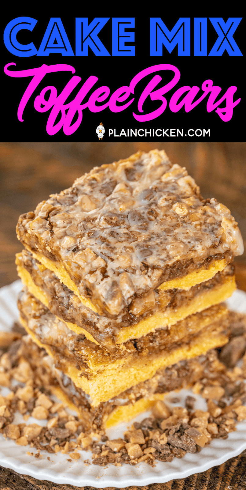 Cake Mix Toffee Bars - only 5 ingredients!! Cake mix, eggs, butter, toffee bits and sweetened condensed milk. I took these to a party and they were gone in minutes! I always double the recipe now because everyone goes crazy over this easy dessert!! These are best if you make them the day before and refrigerate overnight. Great for parties, tailgating and your holiday cookie tray. YUM! #dessert #toffee #cakemix