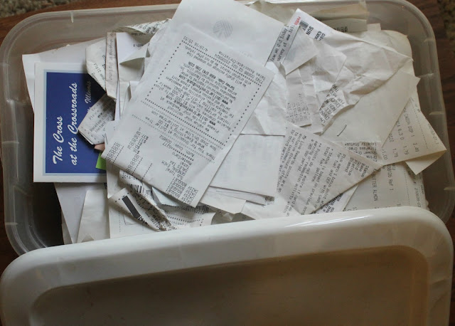 Simply using a box to throw receipts in works and is super easy to do.